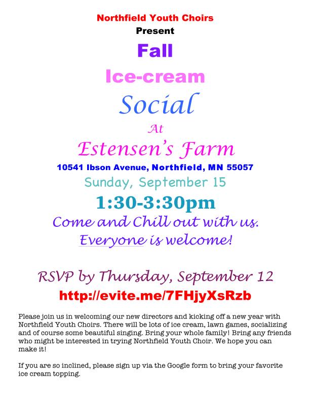 Ice Cream Social Sunday, September 15
